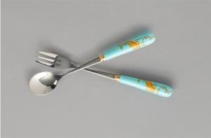 国瓷永丰源 夫人瓷陶瓷2头勺子叉子家用调羹吃饭勺汤匙
