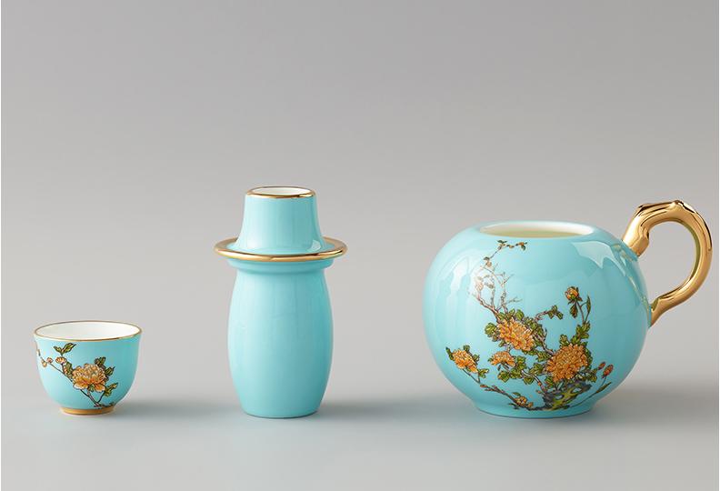 国瓷永丰源 夫人瓷 4头黄酒具套装 酒盅温酒壶陶瓷酒杯中式