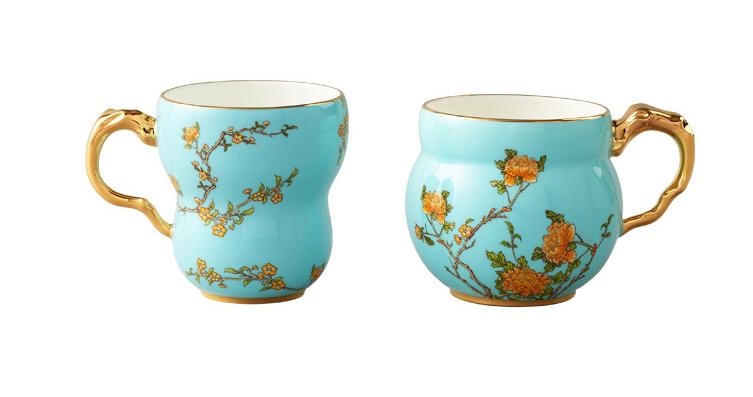 国瓷永丰源夫人瓷 琴瑟对杯马克杯中国风杯子情侣陶瓷水杯瓷杯